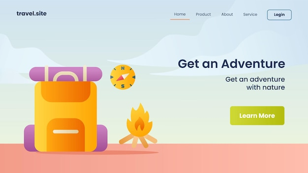 Get an adventure campaign for web website homepage landing