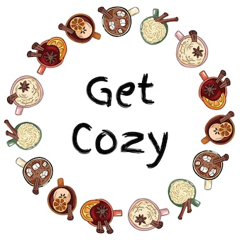 Get cozy decorative wreath of cups of yummy drinks