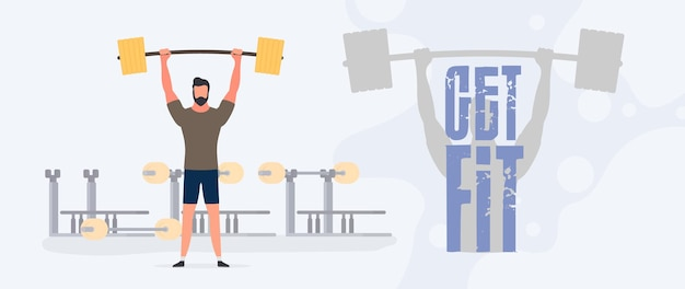 Get fit banner. the guy raises the barbell. a man holds a dumbbell. workout, weight loss. the concept of losing weight and a healthy lifestyle. vector.