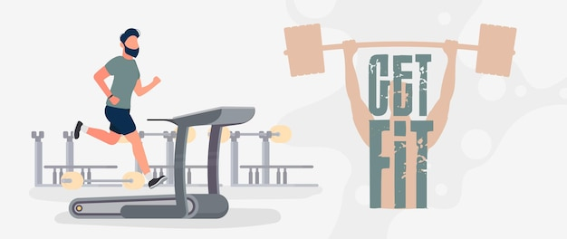 Get fit banner. the guy runs on a treadmill. a man runs on a simulator. cardio workout, weight loss. the concept of losing weight and a healthy lifestyle. vector.