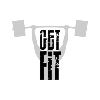 Get fit logo. logo on a sports theme. good for banners, prints, t-shirts or sports-themed stickers. Premium Vector