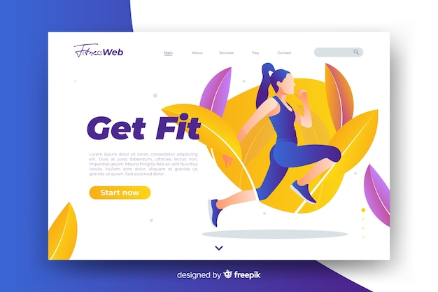 Get fit sport landing page with illustration
