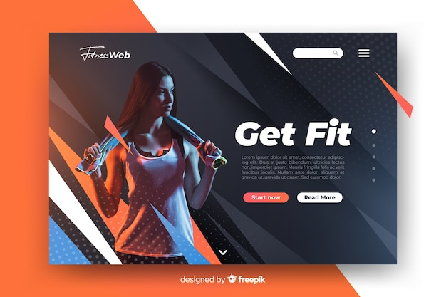 Get fit sport landing page with image