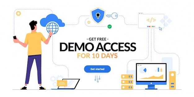 Get free demo access to saas, paas, iaas promotional advertising banner. man looking on cloud computing services scheme and get started cta button isolated on white. optimization of business process.