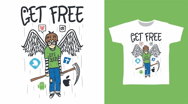 Get free doodle human with wings for tshirt design