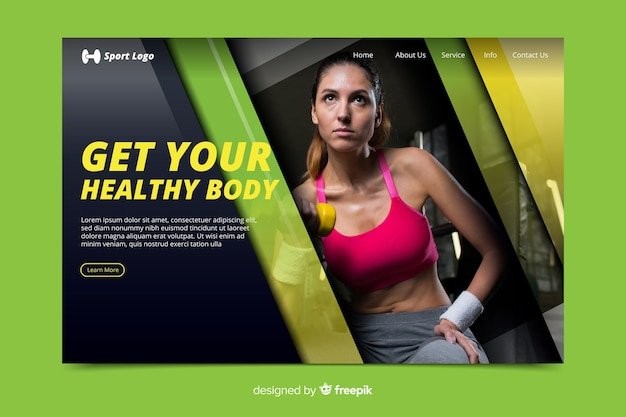Get healthy gym promotion landing page