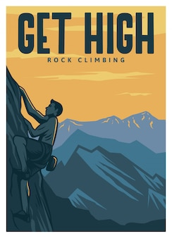 Get high rock climbing poster