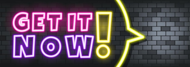 Get it now neon text on the stone background. get it now. for business, marketing and advertising. vector on isolated background. eps 10.
