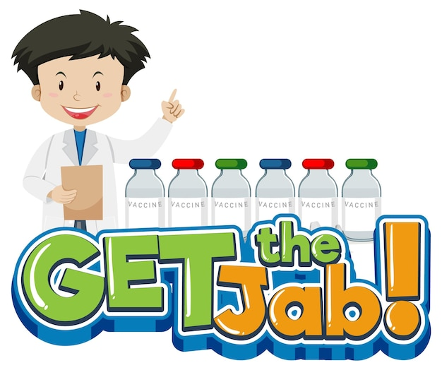 Get the jab font banner with a male doctor cartoon character