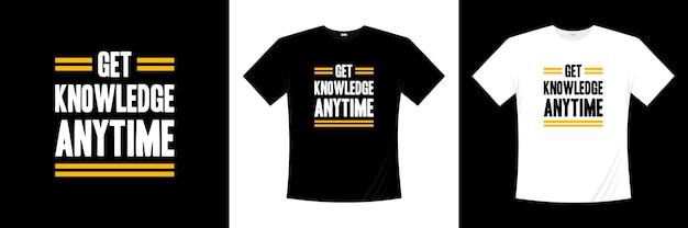 タイポグラフィtシャツのデザインはいつでも知識を得る