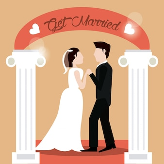 아름 다운 손을 잡고 부부를 결혼