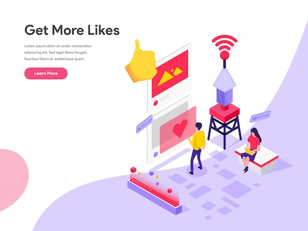 Get more likes isometric illustration concept
