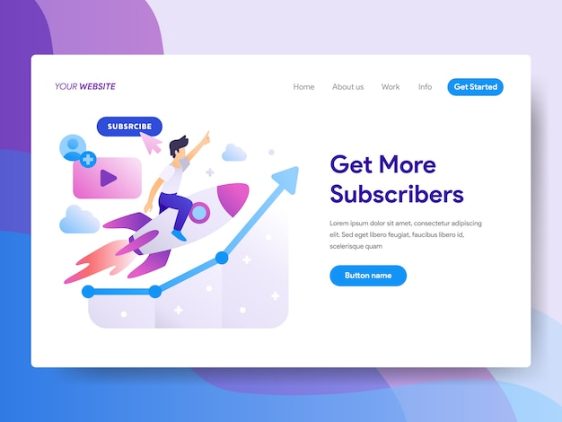 Get more subscribers illustration on homepage