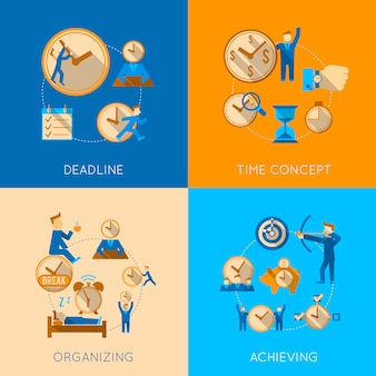Get organized meeting deadline time management efficiency achieving concept flat composition isolated vector illustration