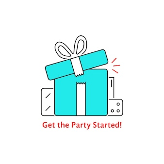 Get the party started with thin line gift boxes. concept of 8 march, women, valentine or mother day, fair, rewards. flat style trend logotype graphic design vector illustration on white background