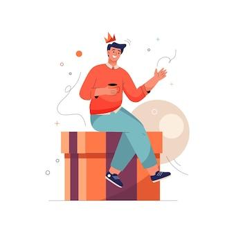 Получите премиальную концепцию: человек в короне сидит на огромной подарочной коробке