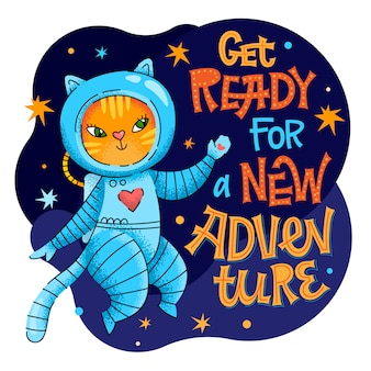 Get ready for a new adventure lettering phrase. hand drawn baby space theme quote.