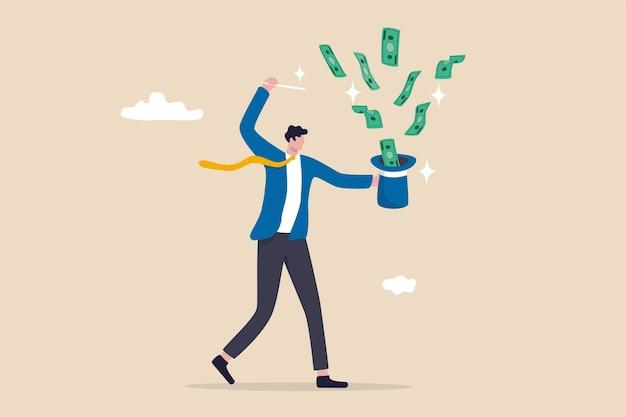 빨리 부자가 되고, 투자, fed 또는 중앙 은행 자극 화폐, 금융 또는 자산 고문 개념, 마술 지팡이를 사용하여 마술 모자에서 돈을 버는 사업가 마술사로부터 돈을 벌거나 이익을 얻습니다.