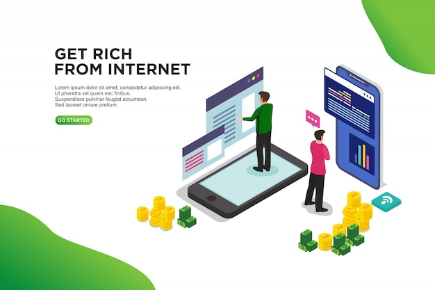 Get rich from internet isometric vector illustration concept