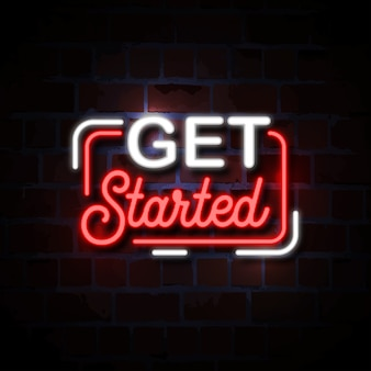 Get started neon style sign illustration