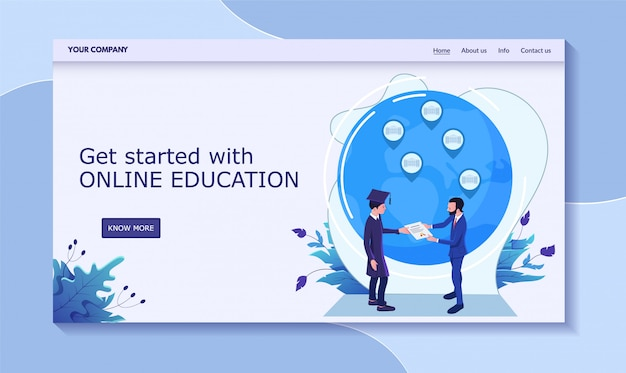 Get started online education, male receive diploma from rector,  illustration. contact us, info, about us, home, more button.