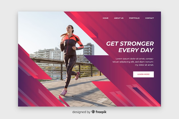 Get stronger every day sport landing page