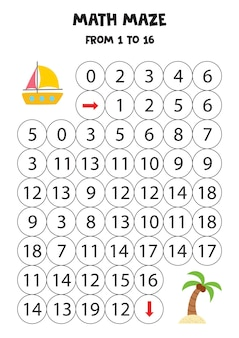 Get summer yacht to the island with palm tree by counting to 16.