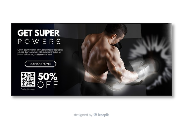 Ottieni banner sportivi superpoteri con immagine