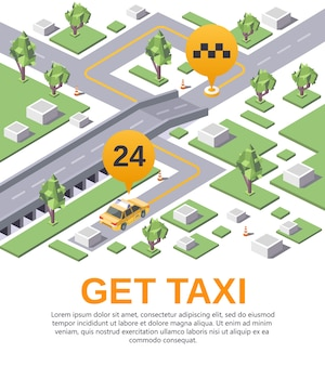 Get taxi transportation app application advertising poster