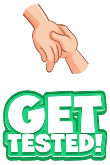 Get tested font in cartoon style with hands holding together