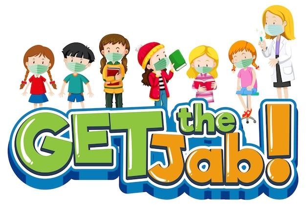 Получите баннер шрифта jab с доктором и мультипликационным персонажем многих детей