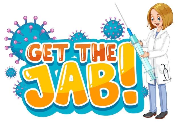 Получите шрифт jab в мультяшном стиле с изолированной женщиной-врачом