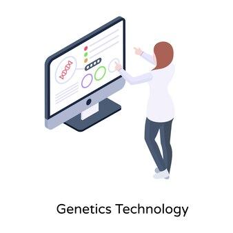 아이소메트릭 스타일로 유전 기술의 이 이미지를 가져옵니다.