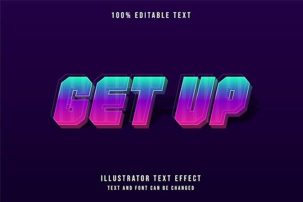 Вставай, 3d редактируемый текстовый эффект, современный синий градиент фиолетовый розовый стиль текста