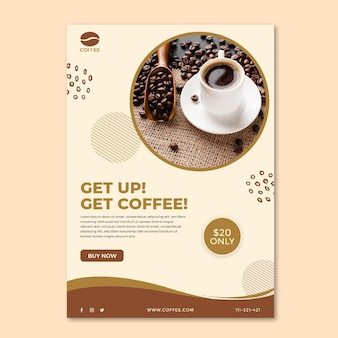 Get up and get coffee poster template