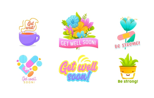 Get well soon and be strong icons or banners set isolated on white background.