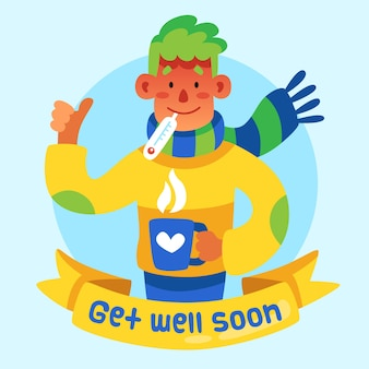 Get well soon concept illustrated