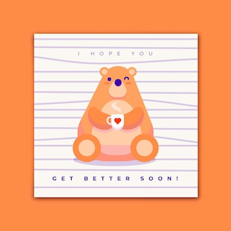 Get well soon cute big bear with cup of tea