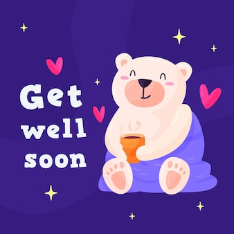 Get well soon cute character illustration