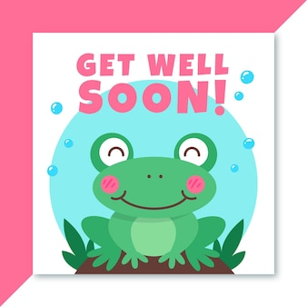 Get well soon cute frog blushing card