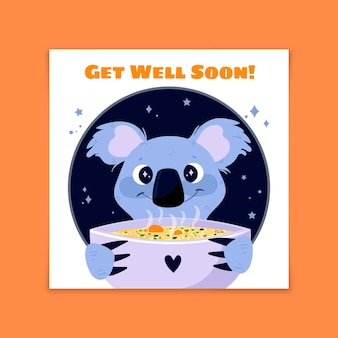 Get well soon cute koala with soup