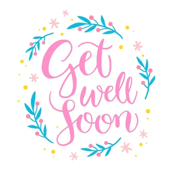 Get well soon lettering message design