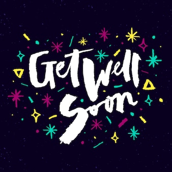Get well soon lettering quote