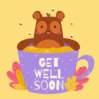 Get well soon lettering with cute bear