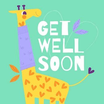 Get well soon lettering with cute giraffe