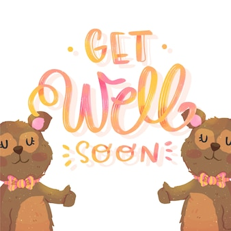 Get well soon message with bears