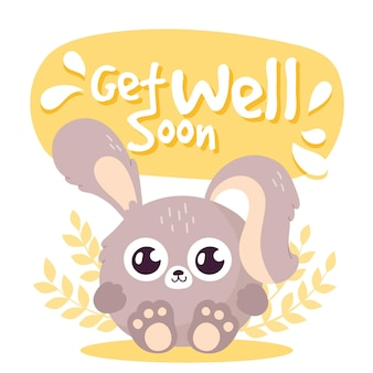 Get well soon message with character concept