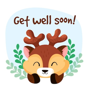 Get well soon message with character design