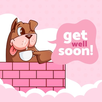Get well soon message with character theme