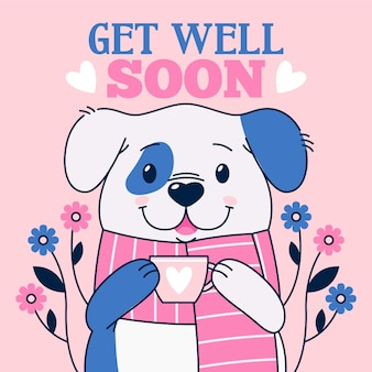 Get well soon message with character